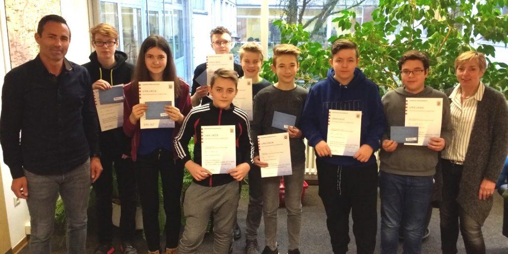 Schulsieger im Mathematikwettbewerb geehrt