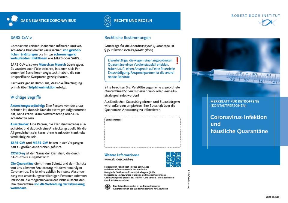 """Flyer """"Quarantäne"""" – das RKI informiert"""