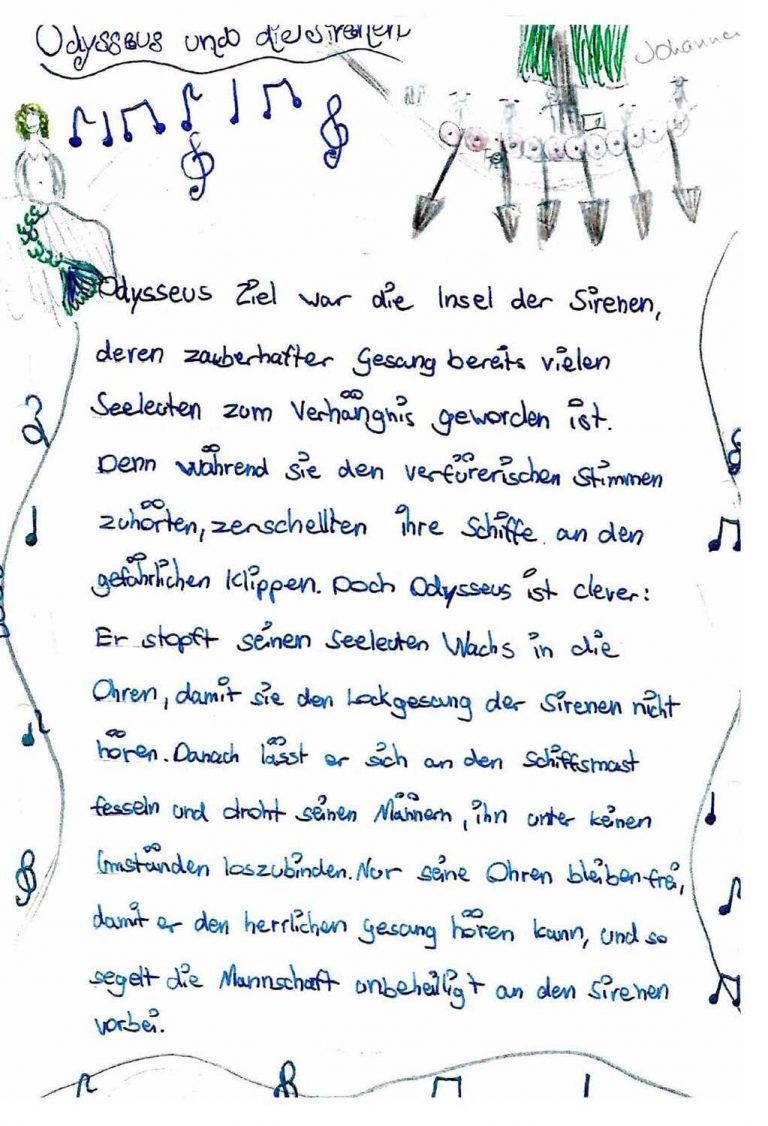 (Odysseus und die Sirenen von Johanna Schaaf, Klasse 6b)