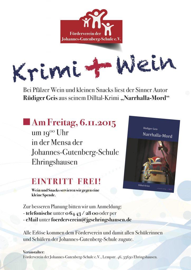 Krimi und Wein – Lesung in Ehringshausen